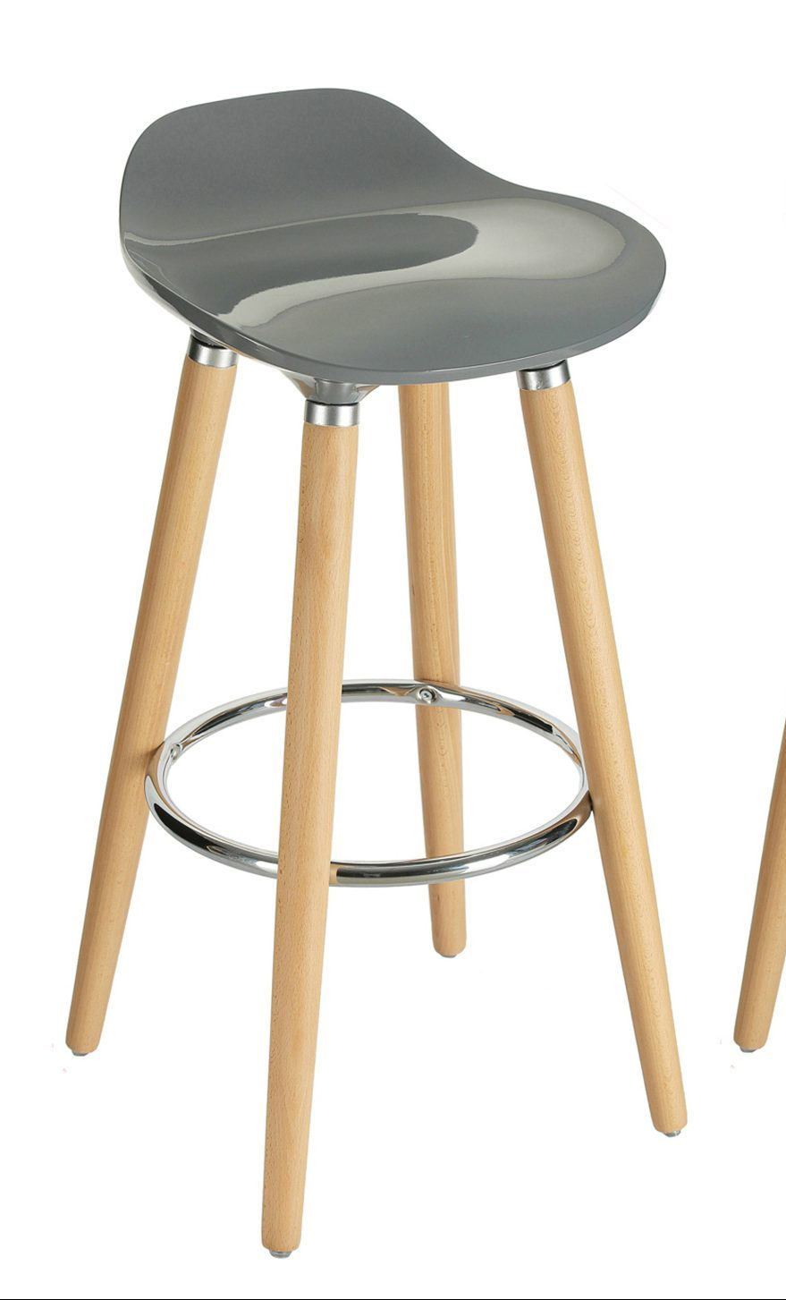Orolay Grey Kitchen Breakfast Bar Stool Abs Plastic Seat Chrome Footrest Wooden Legs