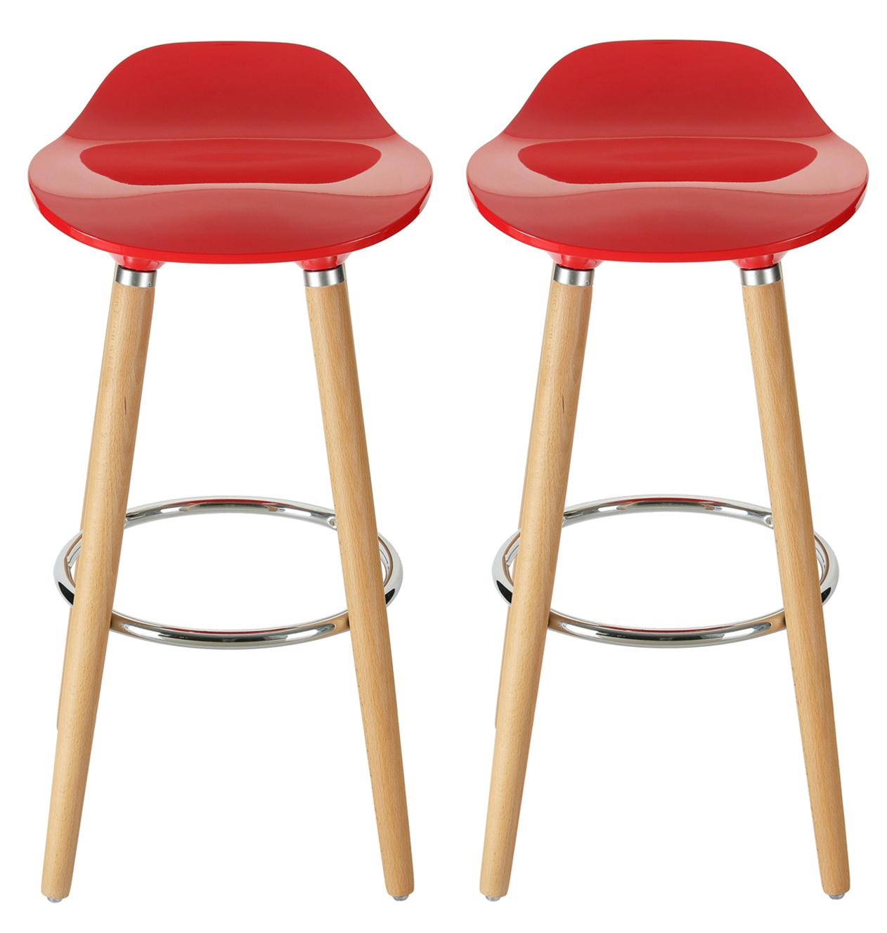 Orolay Red Kitchen Breakfast Bar Stool Abs Plastic Seat