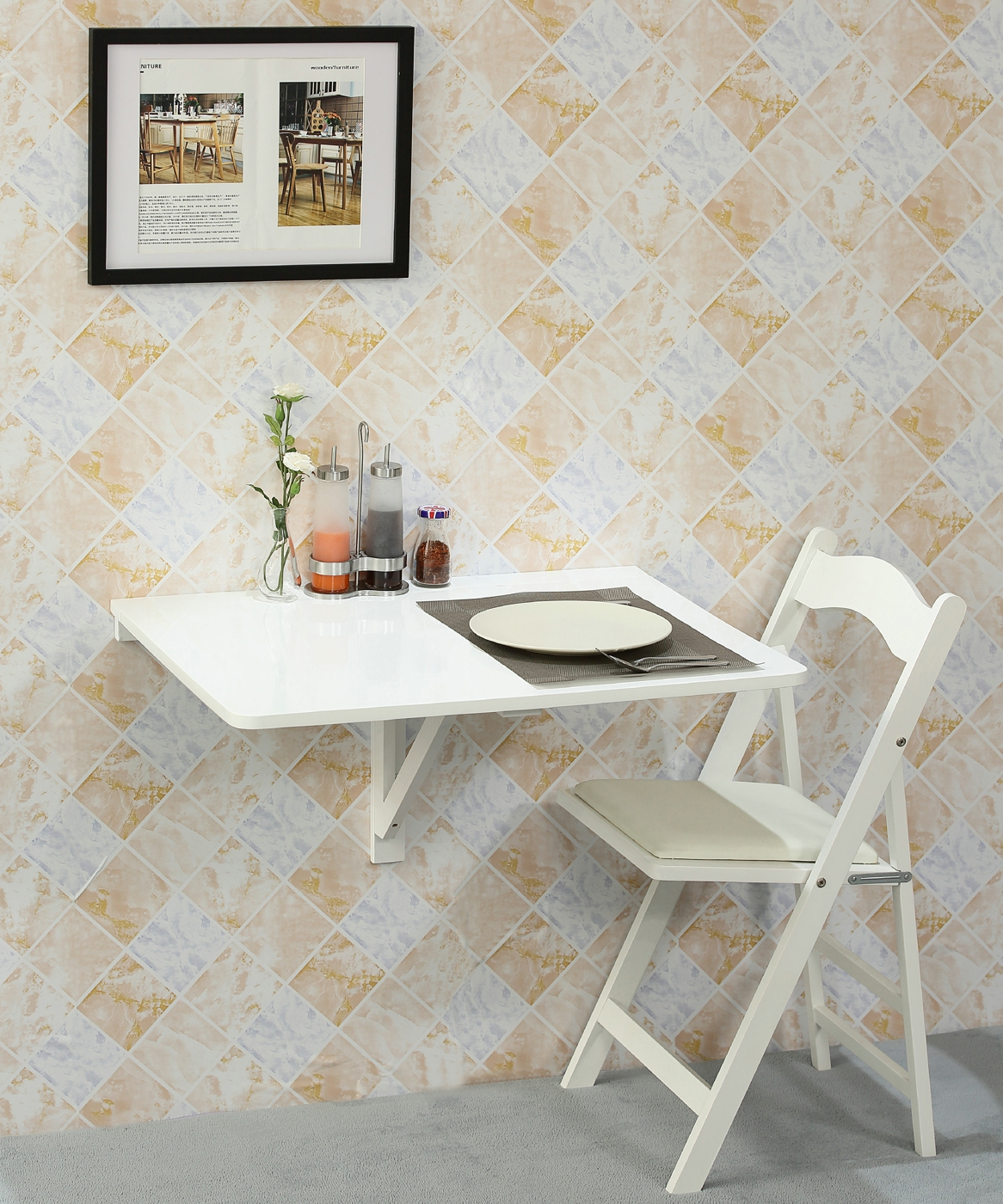 Orolay wall mounted drop leaf folding white kitchen dining table ebay - Wall mounted drop leaf table white ...