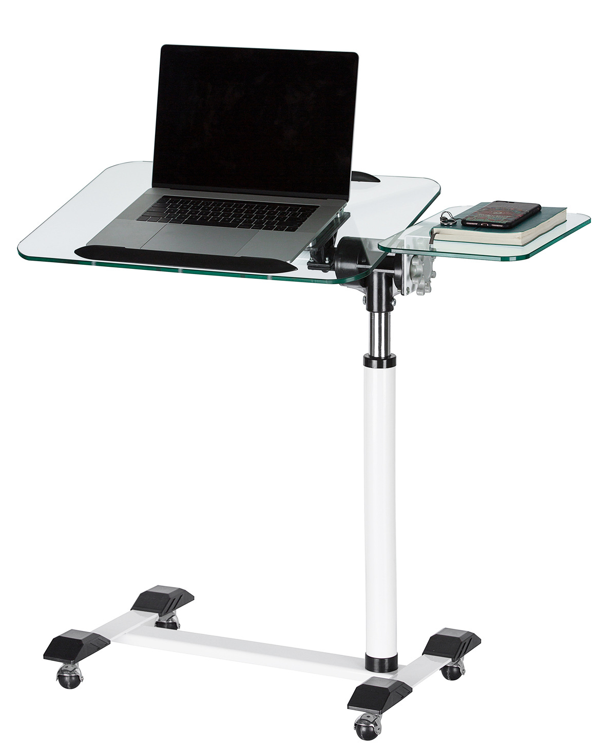Adjustable Height Laptop Cart With Storage