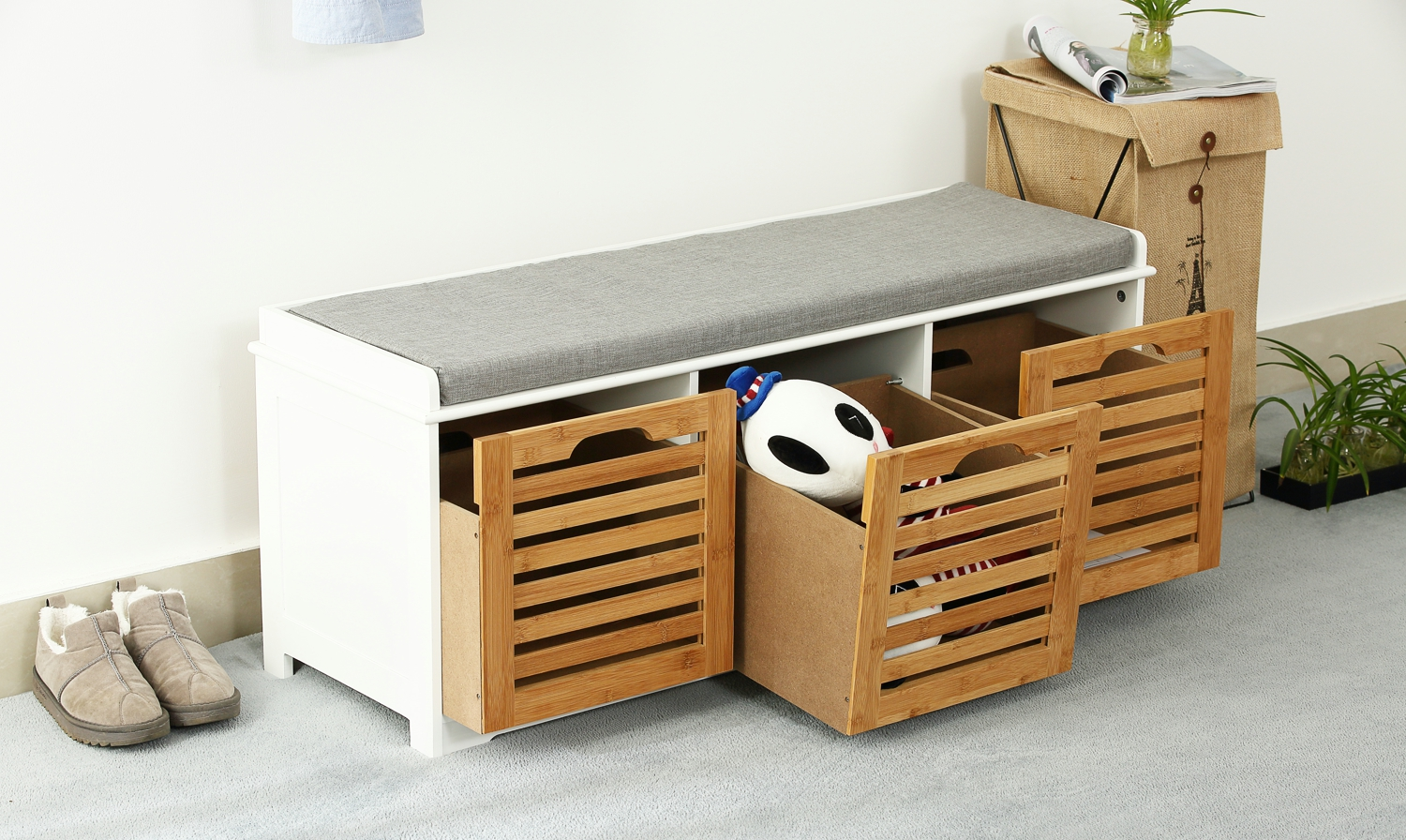 Orolay Storage Bench With 3 Drawers And Cushioned Seat