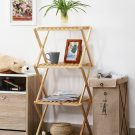 Multi storey solid wood foldable 4 tier display shelf, practical & convenient, foldable for easy storage